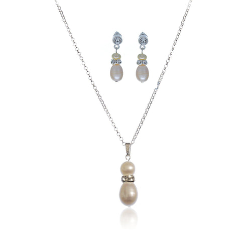 Grace Freshwater pearl and Cubic Zirconia Pendant Set (Discounted price)-Starlet Jewellery