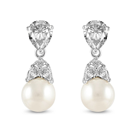 Grace Pearl and Cubic Zirconia Earrings-Starlet Jewellery