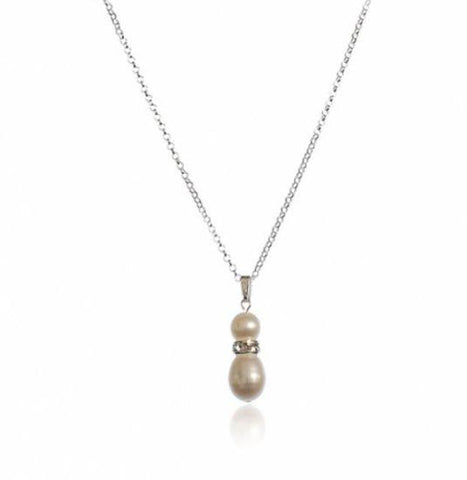 Grace Freshwater Pearl and Diamante Rondelle Pendant-Starlet Jewellery