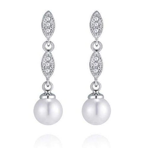 Hannah Pearl and Diamante Wedding Earrings