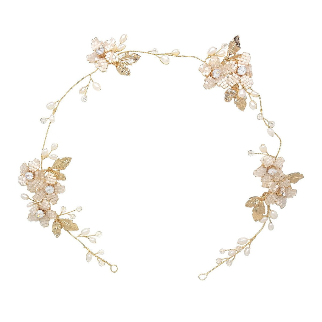 Hazel Floral Gold Freshwater Pearl Hairvine-Starlet Jewellery