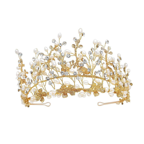 Hazel Gold adjustable height Freshwater pearl Wedding Tiara