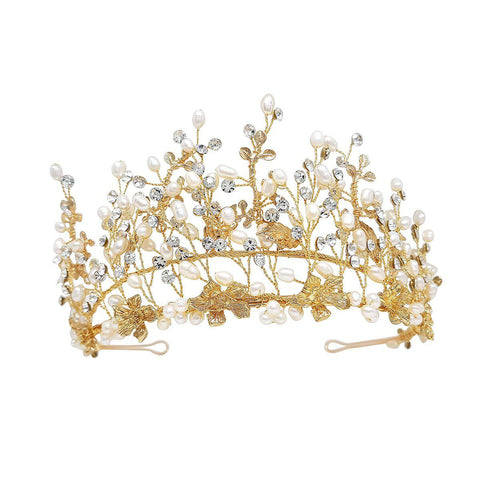 Hazel Gold adjustable height Freshwater pearl Wedding Tiara-Starlet Jewellery