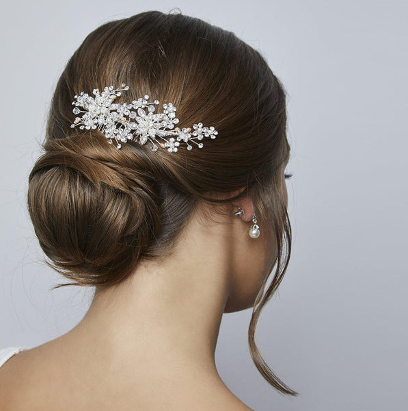 Hepburn Freshwater Pearls & Crystal Hair Comb - New!