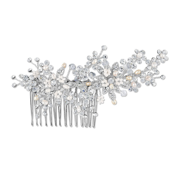 Hepburn Freshwater Pearls & Crystal Hair Comb - New!-Starlet Jewellery