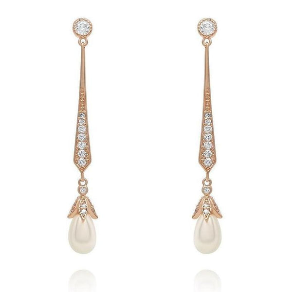 Hester Rose Gold Pearl Bridal Earrings-Earrings-Starlet Jewellery