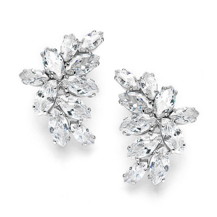 Hollywood Silver plated Earrings studs - Olivier Laudus Wedding Jewellery