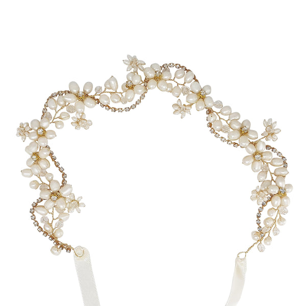 Alessia Gold Freshwater Pearl Hair vine-hair-Starlet Jewellery