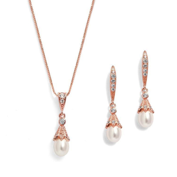Katherine Rose Gold Freshwater Pearl Pendant Set - Olivier Laudus Wedding Jewellery