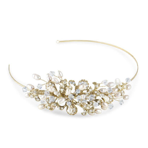 Kensington Side Tiara Gold (Garland)-Starlet Jewellery
