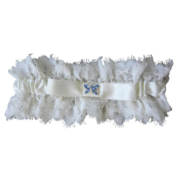 Lace Blue Butterfly Garter