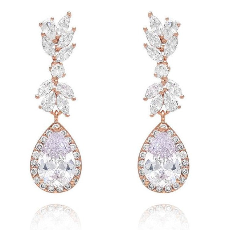 Lily Rose Gold Cubic Zirconia Earrings-Starlet Jewellery