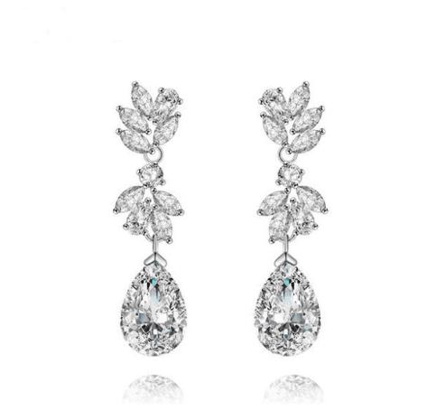 Lily Simulated Diamond Earrings-Starlet Jewellery