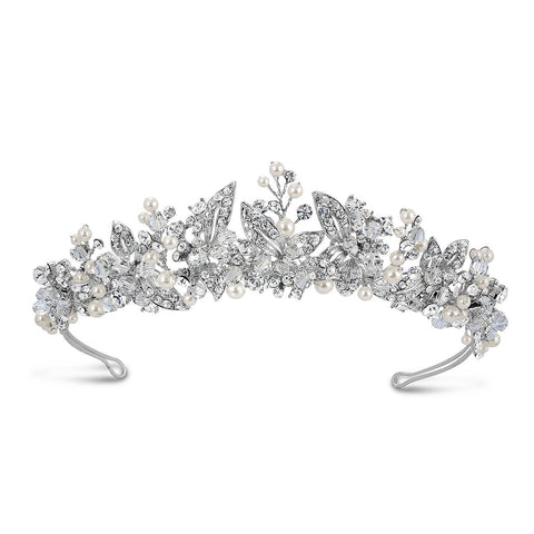 Liv Pearl and Diamante Tiara-Starlet Jewellery