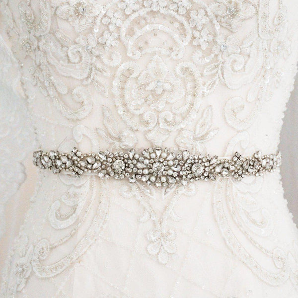 Liv Pearl and Diamante Wedding Belt-Starlet Jewellery