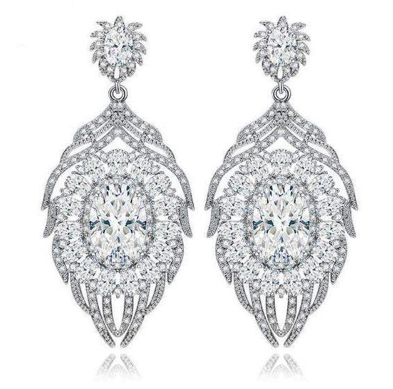 Lucy Vintage Style Chandelier Earrings-Cubic Zirconia Earrings-Starlet Jewellery