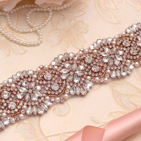Amalia Rose Gold pearl and Diamante Wedding Belt-Starlet Jewellery