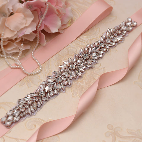 Divine Rose Gold Diamante Wedding Belt-Starlet Jewellery