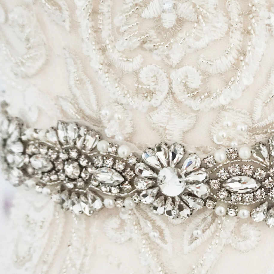 Natalie pearl and Diamante bridal Belt-Starlet Jewellery