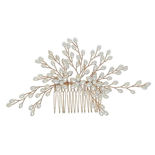 Paris Pearl Hair Comb - Rose Gold