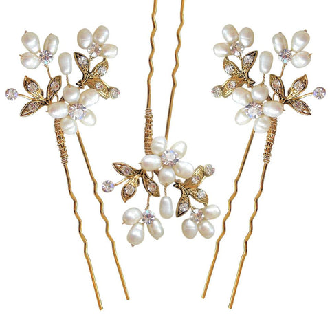 Paris Hair Pins Gold (set of 3)-Starlet Jewellery