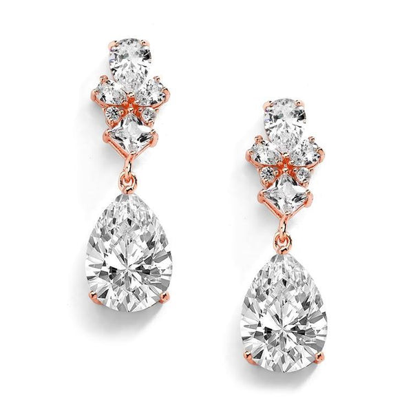 Scarlett 14ct Rose Gold Simulated Diamond Earrings - Olivier Laudus Wedding Jewellery