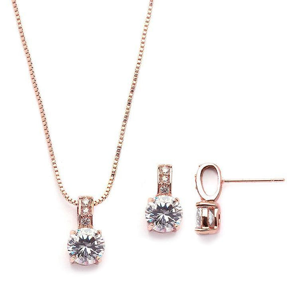 Veronica Rose gold Simulated Diamond Pendant Set - Olivier Laudus Wedding Jewellery