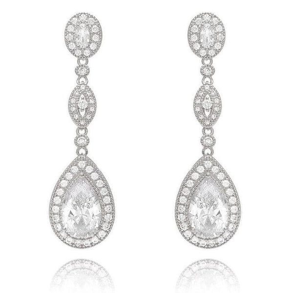 Victoria Silver Drop Earrings-Earrings-Starlet Jewellery
