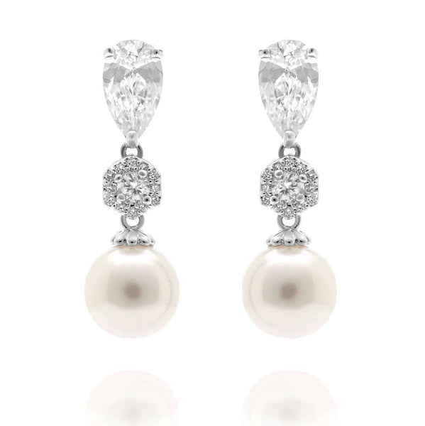 Virginia White Pearl and Simulated Diamond Earrings-Pearl Drop Earrings-Starlet Jewellery