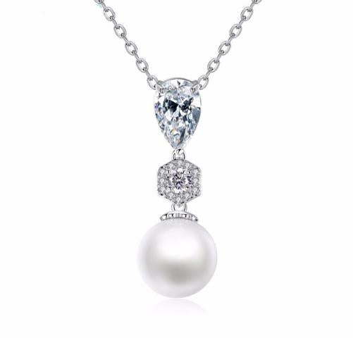 Virginia White Pearl And Diamante Pendant-Pearl Pendants-Starlet Jewellery
