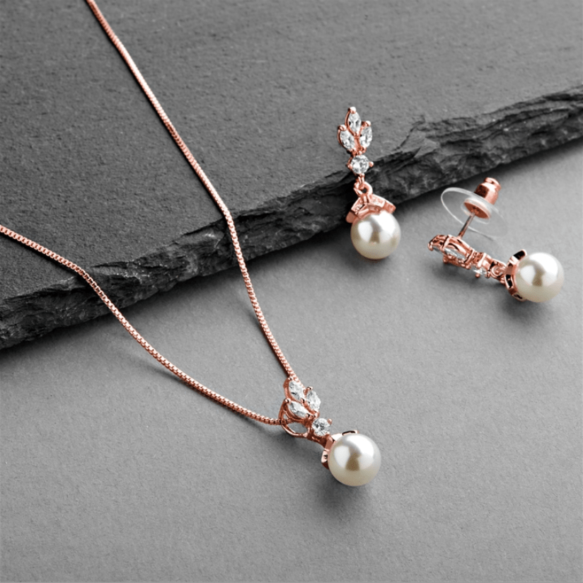 Acacia Pearl Earrings and Pendant Set - Olivier Laudus Wedding Jewellery
