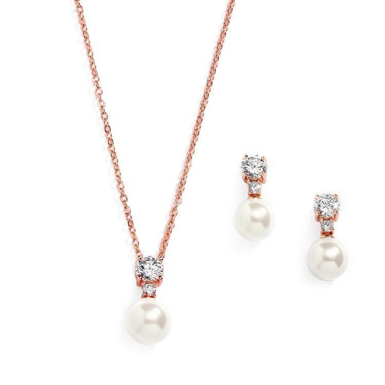 Becky Rose Gold Faux pearl Pendant Set - Olivier Laudus Wedding Jewellery