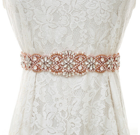 Adele Rose Gold Pearl and Diamante Wedding Belt-Starlet Jewellery