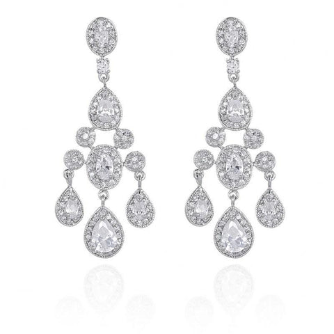 Gwen Cubic Zirconia Chandelier Earrings-Starlet Jewellery