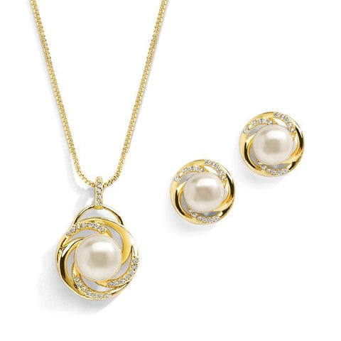 Dior Gold Plated Freshwater Pearl Pendant Set - Olivier Laudus Wedding Jewellery
