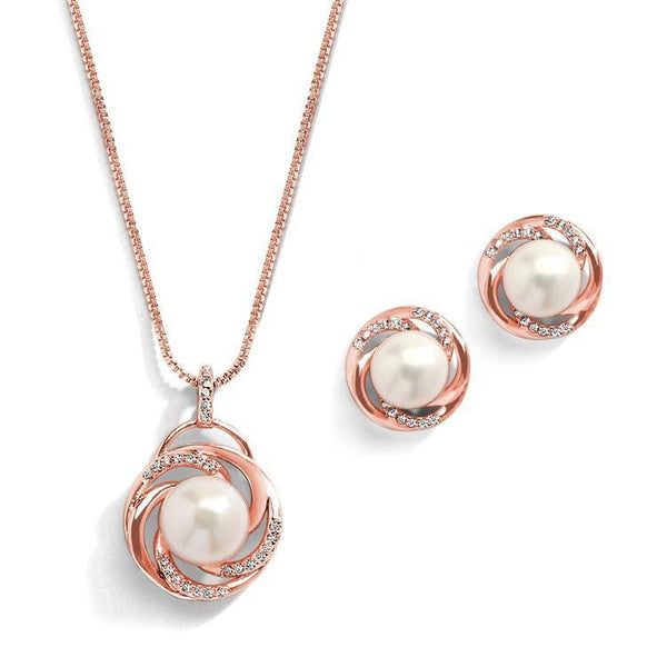Dior Rose Gold Freshwater Pearl Pendant Set - Olivier Laudus Wedding Jewellery