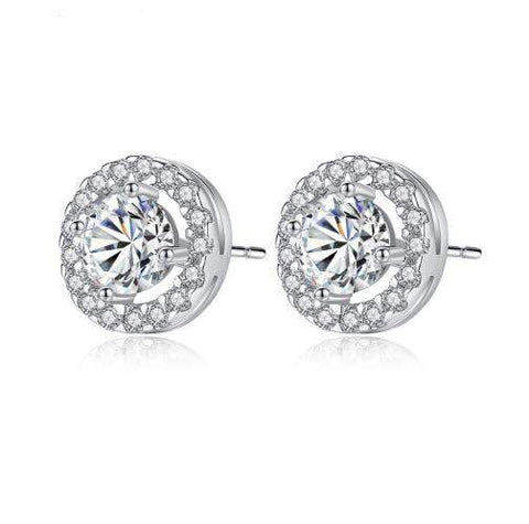 Elle Platinum plated Simulated Diamond Studs-Cubic Zirconia Earrings-Starlet Jewellery