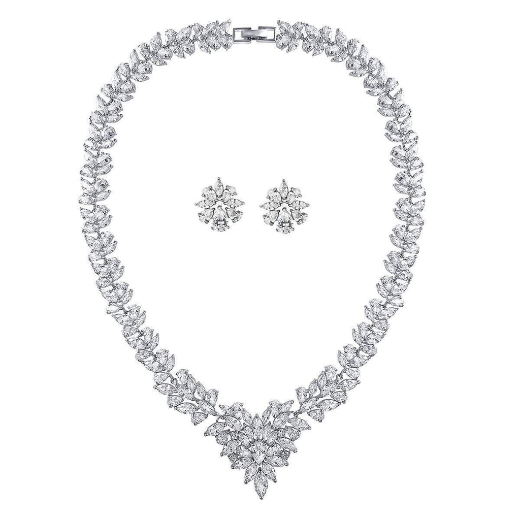 Lucia Simulated Diamond Necklace Set - Olivier Laudus Wedding Jewellery