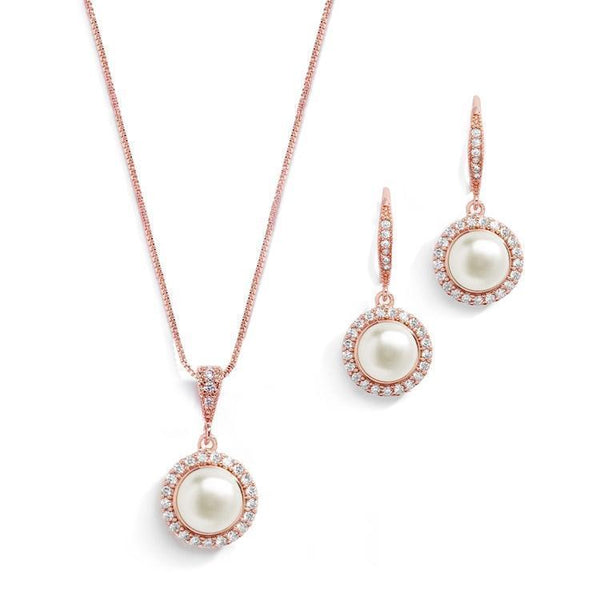 Luna Rose Gold Freshwater Pearl Pendant Set - Olivier Laudus Wedding Jewellery