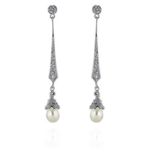 Hester Freshwater Pearl Bridal Earrings-Earrings-Starlet Jewellery
