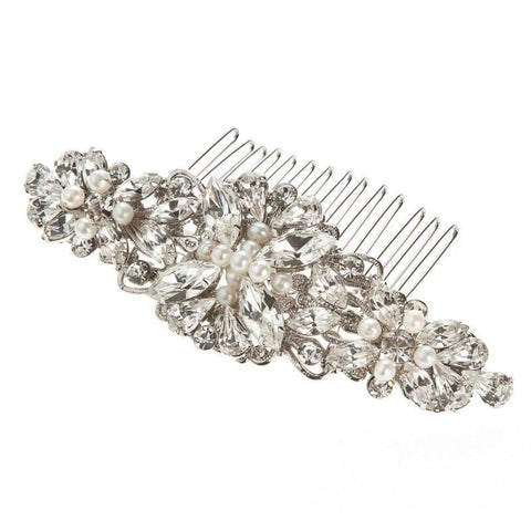 Victoria Silver Pearl Wedding Hair Comb - Olivier Laudus Wedding Jewellery