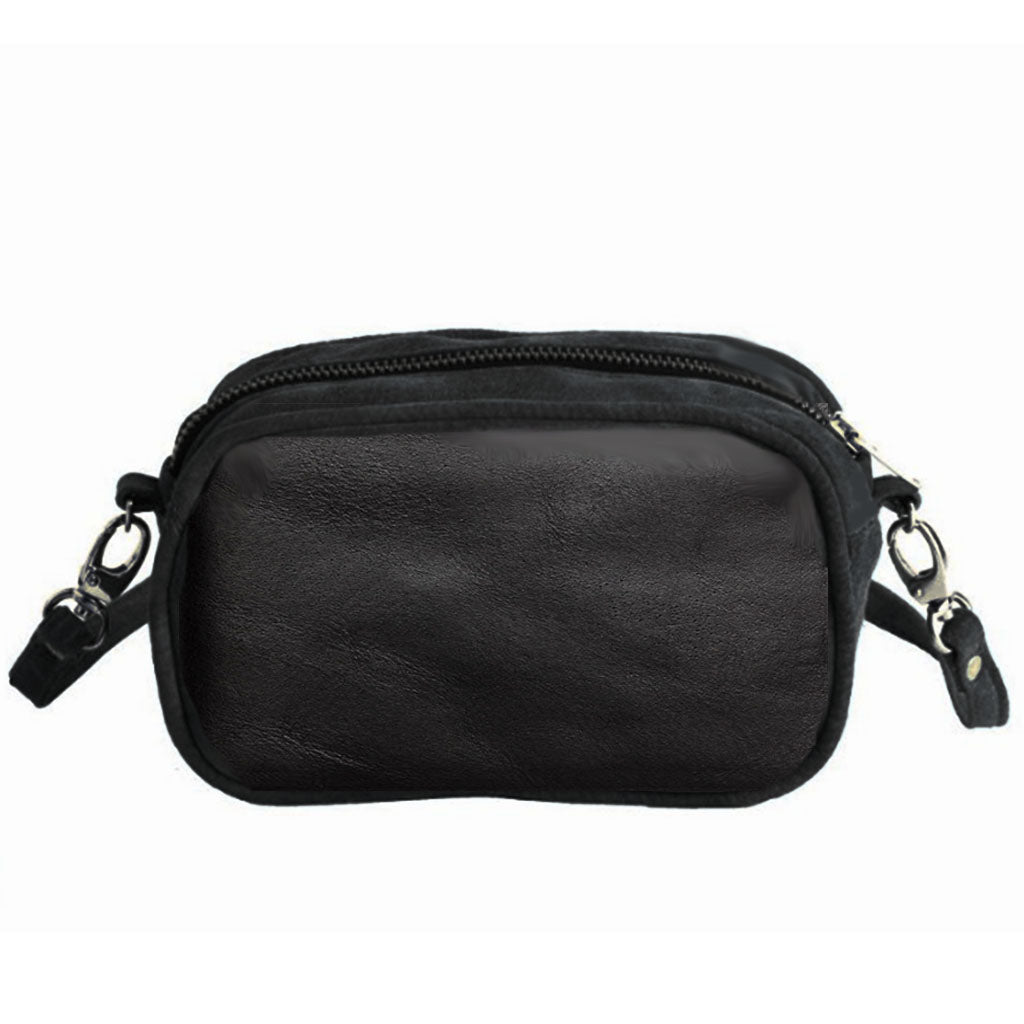 Mini camera bag - zwart leer - Papita.nl