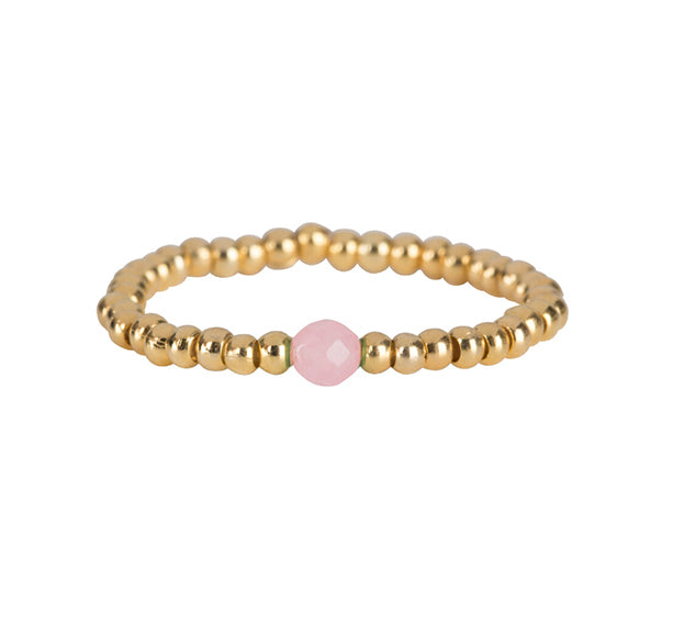 Ring | One Pink Bead Goud