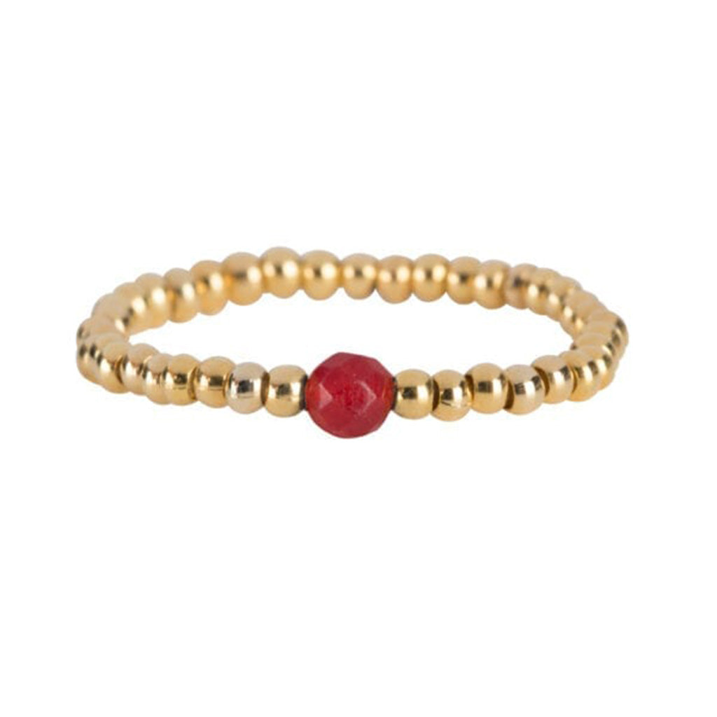 Ring | One Red Bead Goud - Papita.nl