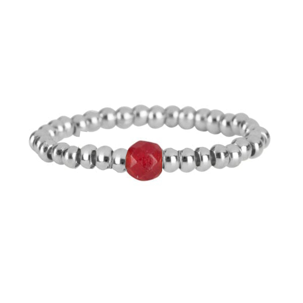 Ring | One Red Bead Zilver - Papita.nl