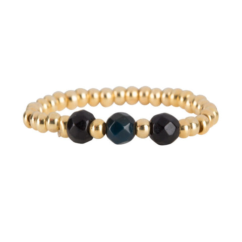 Ring | Three Black Beads Goud - Papita.nl