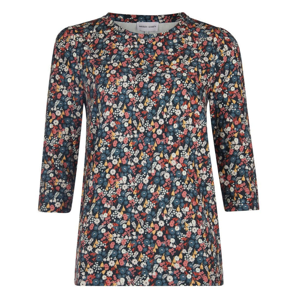 Top | Flower Melange - fairtrade rechte bloemenprint top - Papita.nl