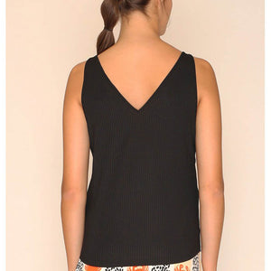 vegan en fairtrade zwarte top - Top Emily Black achter - Papita.nl