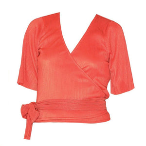 Top | Wrap Rusty Red - vegan top - Papita.nl
