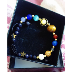Universe Galaxy the Eight Planets Stone Bracelet